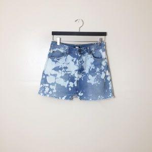 [BDG] Upcycled Bleach Tie Dye Mini Denim Skirt